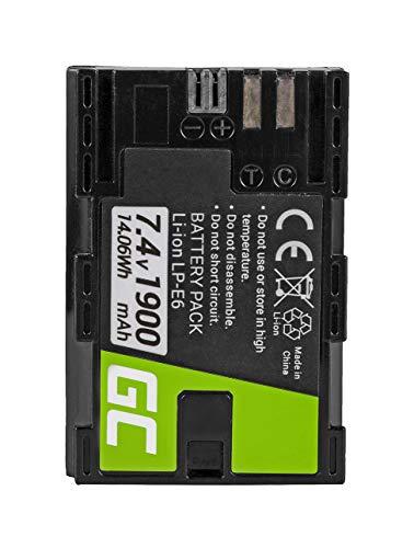 Green Cell® LP-E6 LP-E6N Batería para Canon Batterygrip BG-E6 EOS 5D Mark II 5D Mark III 60D 60DA 6D 7D Cámara, Full Decoded (Li-Ion Celdas 1900mAh 7.4V)