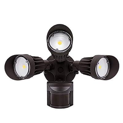 JJC LED Security Lights Motion Sensor Flood Light Outdoor,30W(250W Equiv.)3000LM,IP65 Waterproof,5000K-Daylight White DLC & ETL Listed Outdoor Lighting for Garage Yard Garden Porch Brown