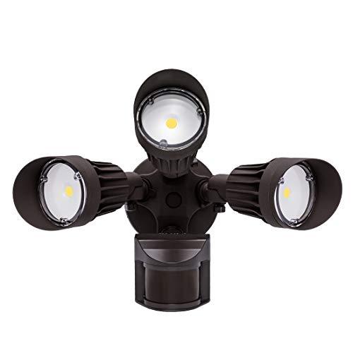 JJC LED Security Lights ,Motion Sensor Flood Light Outdoor 3000LM,30W(250W Equiv.),IP65 Waterproof,5000K-Daylight White ETL Listed Outdoor Lighting for Garage Yard Garden Porch Brown