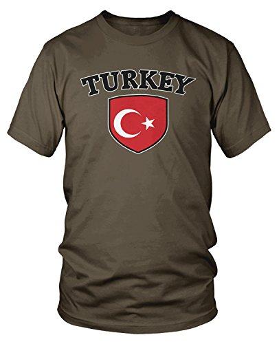 Amdesco - Camiseta para hombre, diseño de la bandera de Turquía -  Marrón -  Large
