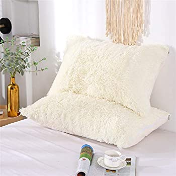 MOOWOO Fluffy Pillowcase Standard Size Set of 2 Creamy White Sherpa Shaggy Pillow Cases Decorative Covers with Zipper  White