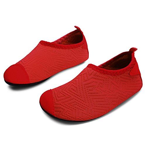 JIASUQI Outdoor Swim Sports Water Skin Shoes Aqua Socks for Toddlers Boys Girls Pure Red US 5-5.5 M Toddler