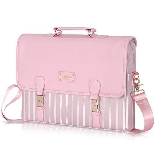 Laptop Bag 15.6 inch - for Women PU Waterproof Laptop Case Shoulder Messenger Bag (Pink) …