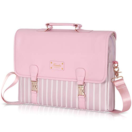 Laptop Bag 15.6 inch - for Women PU Waterproof Laptop Case Shoulder Messenger Bag (Pink) …
