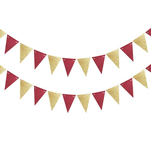 Qian's Party 2pcs Burgundy Gold Triangle Bunting Banners/Burgundy Pennant Banners for Women's 30th/40th/50th Birthday Party Decorations Fall Birthday/Autumn Bridal Shower/Rustic Wedding Decorations