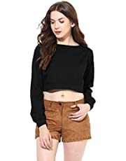 Miss Chase Women's Full Sleeves Round Neck Relaxed Fit Casual Crop Top