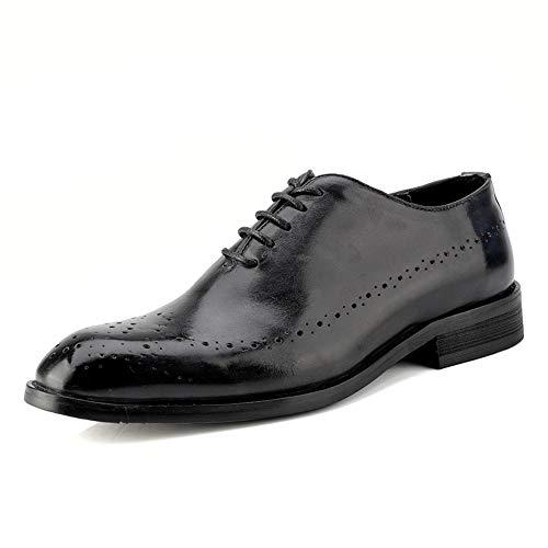 Sunny&Baby Mode pour Hommes Oxford Casual British Style Classic Retro Brush Chaussures de Couleur Brogue Résistant à l'abrasion (Color : Noir, Taille : 47 EU)