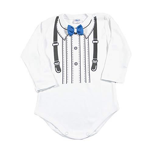 Lollipop Baby Langarm Body Strampler mit Fliege Jungen Hochzeit Smoking Anzug Gentleman Kinder Kleidung Taufe Geburtstag Weiß Neugeborene Geschenk Festlich Bowtie (blau, 80)