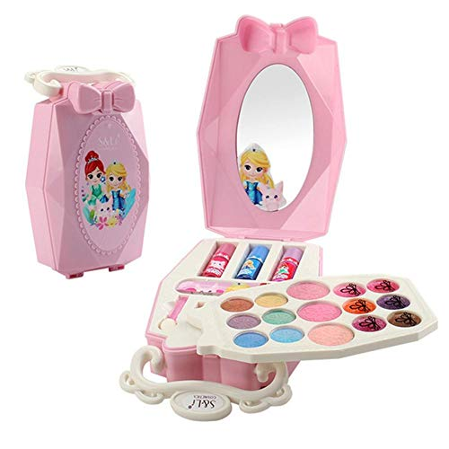 happygirr Juego de maquillaje para niños, maletín de maquillaje relleno, juguete con espejo, juego de maquillaje para niños, cosméticos, regalos para niños, Navidad, cumpleaños