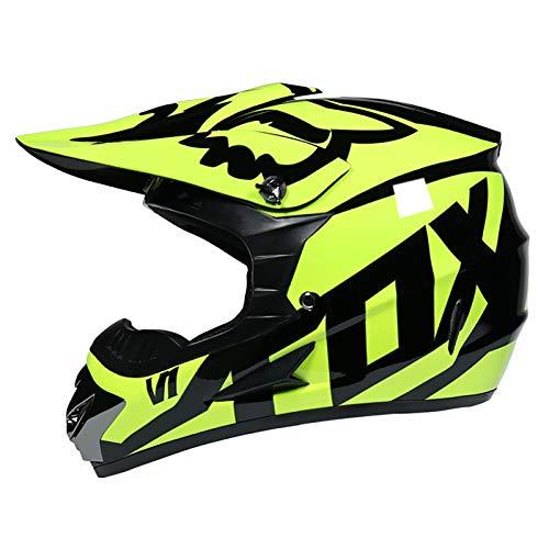 YATT Casco De Motocross, Ventilaciones Elegantes Desmontables Cuesta Abajo DH Motocicleta Todoterreno Casco De Montar para Adultos Negro Amarillo Brillante con Gafas + Guantes + Protector Facial