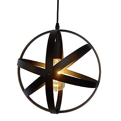FRTIM Industrial Globe Pendant Light Fixture with Black Spherical Metal Lampshade E26 Adjustable Hanging Pendant Lighting Kit for Kitchen Island Bedroom Dining Room - 1 Light