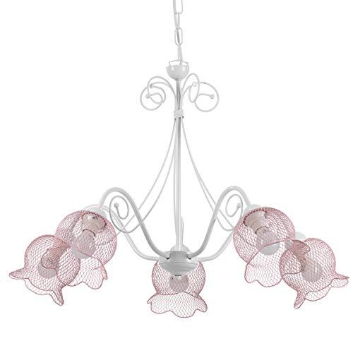 ONLI Hängeleuchte Mia aus Metall weiß und rosa 5-flammig