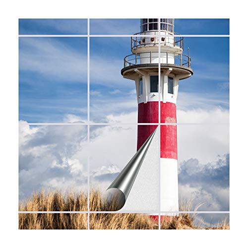 FoLIESEN Fliesenaufkleber für Bad und Küche | Fliesenposter Lighthouse in Nieuwpoort | Fliesengröße 20x25 cm (BxH) | Fliesenbild 12 TLG. - 60x100 cm (BxH)