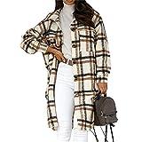 HANTONGHAO Nueva chaqueta de mujer a cuadros de primavera Abrigo largo de cuadros cálidos Abrigo largo de gran tamaño Mezclas de lana gruesa Ropa de calle femenina - StyleA Brown, S, China