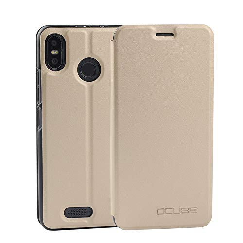 Ycloud Funda Libro para Ulefone S9 Pro, Cuero Artificial Cuero con Flip Cover Case 360 Full Body Coverage Protective Cubierta Protectora, con función de Soporte - Oro