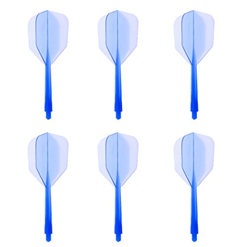 IPOTCH Transparente Dartschäfte Dartpfeil-Schäfte mit Darts Flights für alle 2BA Gewindepfeile - Blau