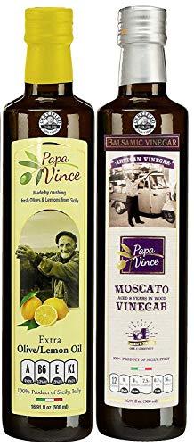 Papa Vince aus Sizilien - 2 Flaschen (je 500ml) Geschenkset. 1- Natives Olivenöl gemischt mit Frische Sonnengereifte Zitronen & 1 - Moscato Weinessig - 8 Jahre gereift. 100% Natürlich