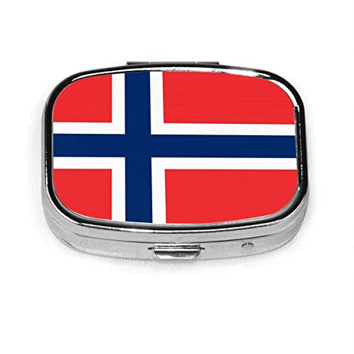 Pill Box - Customized Norwegian Flag Pill Boxes, Portable Rectangular Metal Silver Pills Case, Compact 2 Space, Pill Cases for Travel/Pocket/Purse