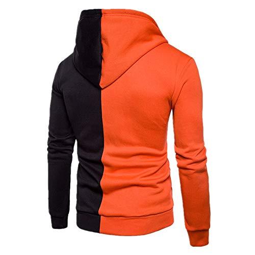 Z&Y Glaa Mens Cotton Padded Fleece Lined Full Zip Up Hoodie Sweatshirt Jacket Men's Long Sleeve Fleece Zip Up Hoody Sweatshirts with Kangaroo Pockets Patchwork Hoodie Orange