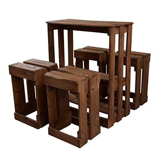 Conjunto de Mesa y Taburetes hecho a mano con madera de Palets para Bares & Terrazas & Patio & Exterior & Interior