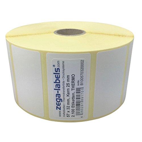Thermo Etiketten auf Rolle - 57 x 32 mm - 2.100 Stück je Rolle - Kern: 25 mm - aussen gewickelt - permanent haftend - Druckverfahren: Thermodirekt (Drucken ohne Farbband)
