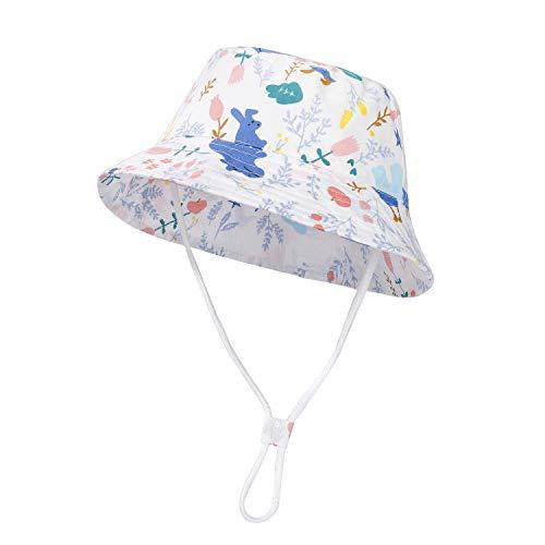 Cappello da Sole per Bambini Estivo Protezione Solare Berretti da Spiaggia con Cinturino Sottogola Regolabile per Bambino, Ragazzo, Ragazza 50-52cm