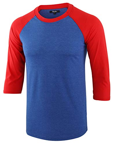 Estepoba Men's Casual Basic Vintage 3/4 Raglan Sleeve Jersey Baseball Tee Shirt Heather Blue/Flame Red M