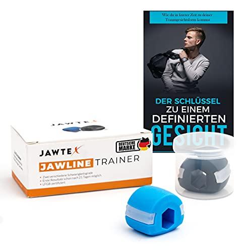JAWTEX Jawline Trainer I Hochwertiger Kiefer Trainer in 2 verschiedenen Schwierigkeitsgraden inklusive GRATIS E-Book I Sorgt für ein definiertes Gesicht ab nur einer Minute Training am Tag