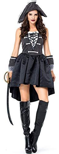 COSAVOROCK Hochsee Piraten Kostüme Damen Piratin (L, Schwarz)