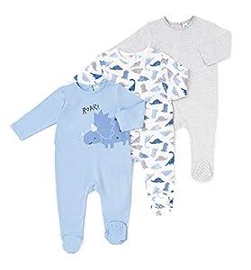 TEX - Pack 2 Pijamas para Bebé Niña y Niño, Pelele, con Pies, Cierre Automático, Estampado, Azul, 36 Meses
