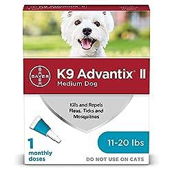 professional K9 Advantix II flea and tick repellent, for medium-sized dogs, 11-20 lbs