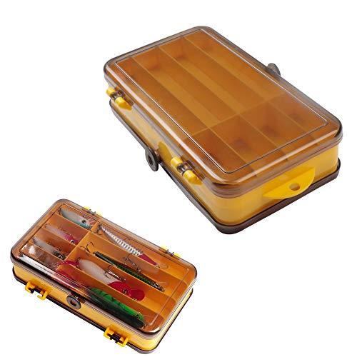 2 Piezas Caja de Almacenamiento de Pesca,Caja de Gancho de Señuelo de Pesca de Doble Cara/Caja de Aparejos de Pesca a Prueba de Agua,Almacenamiento de Pesca Portátil al Aire Libre,17.5 * 9.5 * 4 cm