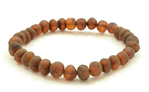Raw Amber Adult Bracelet Made on Elastic Band - Genuine Raw Baltic Amber Beads - 7 inches