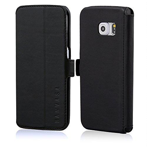 KANVASA Samsung Galaxy S6 Edge Funda Piel Tapa Negra Slim Funda Libro para Galaxy S6 Edge - Estilosa Funda Hecha de Auténtica Piel de Cuero - Protección Óptima y Piel de Calidad - Ultrafina