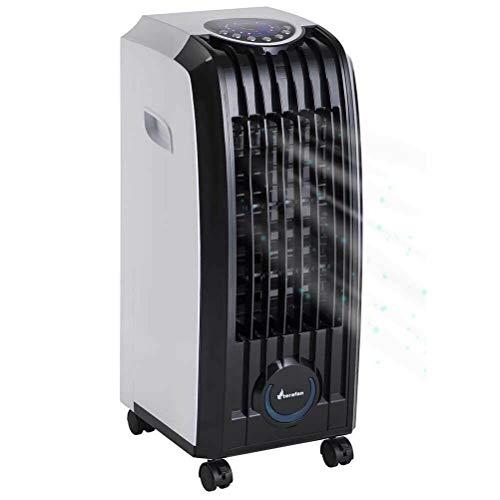 Bakaji Raffrescatore Rinfrescatore Ventilatore Umidificatore d'aria Air Cooler Massima Potenza Raffreddamento ad Acqua con serbatoio Ghiaccio Acqua, Timer e Telecomando (4,5 Litri)