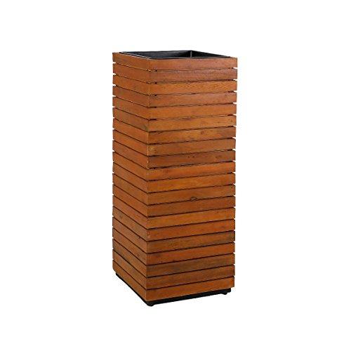 greemotion Jardinière Carrée en Bois d'Acacia, Pot de Plantes Haut en Bois FSC 100%, Avec Insert en Plastique Noir, Jardinière Haute Décorative, env. 43,5 x 115 x 43,5 cm, Marron