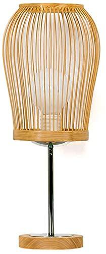 KMILE Lámpara de mesa de la lámpara de escritorio de madera.Dormitorio moderno Metal Metal Decorativo E27 Lámpara, Oriental Bambú Art Tejido Lectura de escritorio Lámpara de ojos Lámpara de mesa tejid