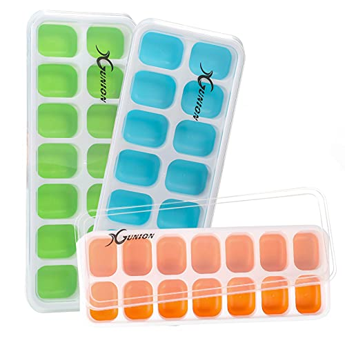Ice Cube Trays 3 Pack, Silicone Ice Tray with Lid 14-Ice Cube Trays Super Easy Release Ice Cube Molds, Dishwasher Safe and Stackable Durable,for Cocktail/Freezer/Beverages