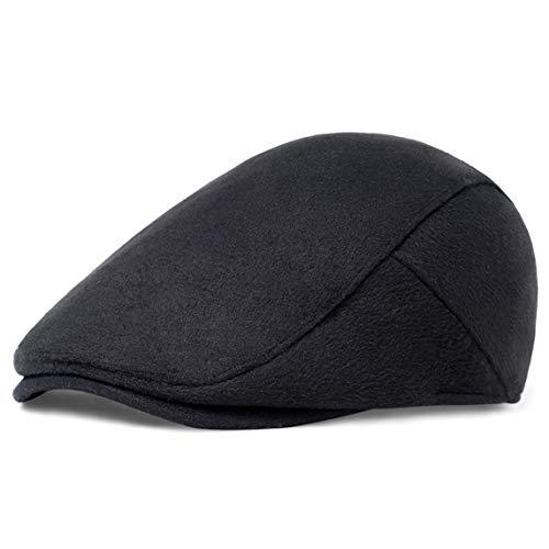 ArtiDeco Barett Cap Herren Gatsby Schirmmütze Newsboy Flat Cap Baskenmütze (Reines Schwarz, Large/Etikettgröße- 59)