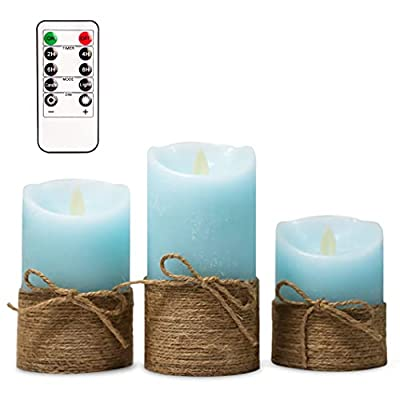 Flameless LED Candles,Flickering Hemp Rope Candle with Timer, Battery Powered&Remote Control, Moving Realistic Candles Wax Pillar for Summer Festival Home Decor - Set of 3 (Light Blue) from Meltone