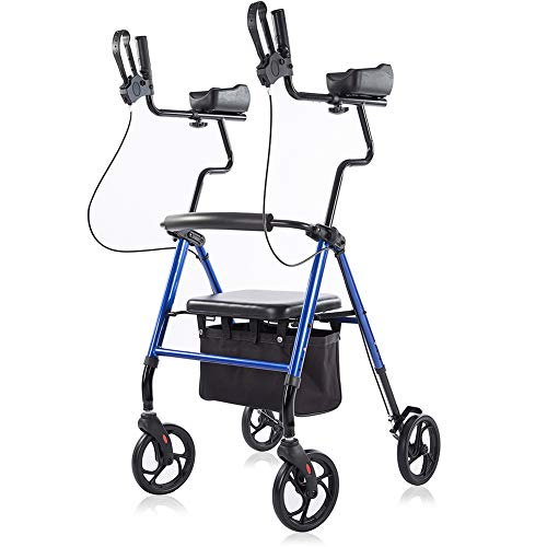 "ELENKER Upright Walker, Forearm Rollator Walker Stand Up Rolling Walker with Padded Seat and Backrest for Seniors from 5' to 5'11"", Blue"