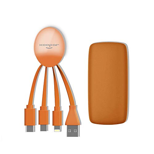 Xoopar Weekender Power Pack Orange Externer Akku Multianschluss Universal Backup-Pack Power Bank sofort einsatzbereit inkl. Kabel für USB C und Micro USB