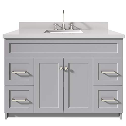 """ARIEL 49"""" Inch Bathroom Vanity in Grey with 1.5"""" Inch Thick Edge White Quartz Countertop 