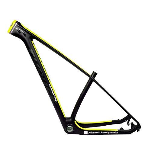 FLYAWAY Bicicleta de montaña (XC) Cuadro de Carbono 29Er Cuadro de Carbono MTB 29 Er BSA Bb30 17 Pulgadas MTB 29 * 17 Pulgadas Bicicleta Cuadro de Bicicleta Carga máxima 250Kg Amarillo