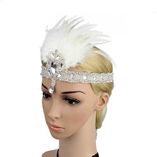 LUOEM Plumes Bandeau Gatsby Flapper des Années 20 Bande Paillette Strass pour Femmes Mariage Fête Danse Parti (Blanc)