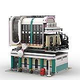 Bulokeliner Modelo Street View MOC-58435 de Kim Artisan, 2171 piezas Jims Bowling Alley & Diner edificio arquitectura compatible con Lego
