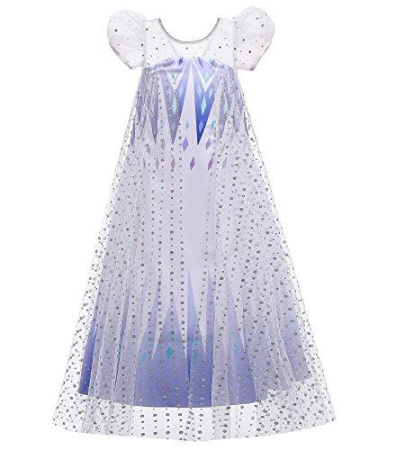 O.AMBW Vestido de Princesa para nias de 2 a 10 aos Disfraz de Frozen Princesa Elsa Vestido Azul Blanco con Capa de Princesa Mangas Volumen Regalo Navidad Disfraces para nias Fan de Frozen
