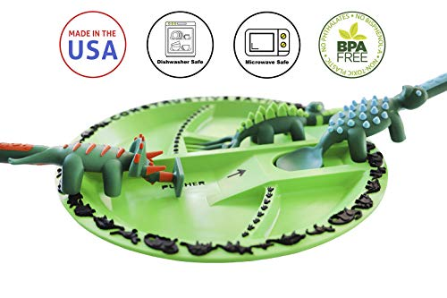 Constructive Eating Dinosaur Combo with Utensil Set and Plate for Toddlers, Infants, Babies and Kids - Flatware Set is Made in the USA Using Materials Tested for Safety, Green