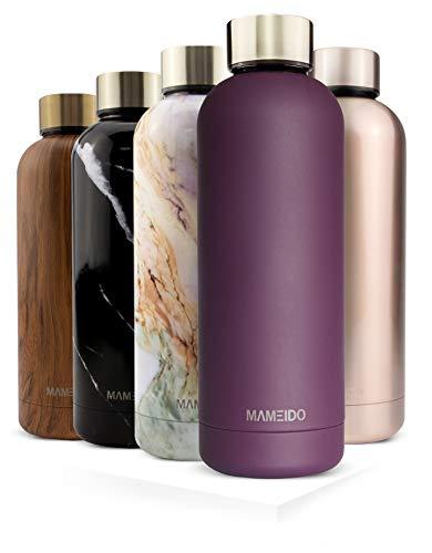 MAMEIDO Trinkflasche Edelstahl - Mauve Violett Gold - 750ml, 0,75l Thermosflasche - auslaufsicher, BPA frei - schlanke isolierte Wasserflasche, leichte doppelwandige Isolierflasche