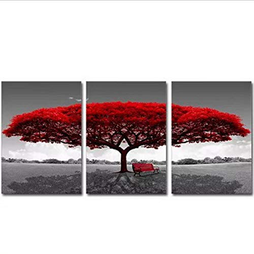 SJYYR Albero Rosso Creativo Semplice Trittico Wall Art Canvas 3 Pezzi Creativo Astratto Trittico Quadri Soggiorno Camera da Letto Pittura A Olio Casa Calda Decorazione Pittura-D2